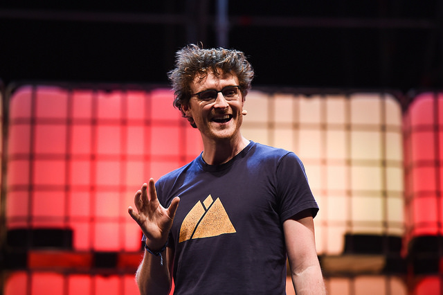 6 November 2017; Paddy Cosgrave, CEO, Web Summit, on centre stage during the Web Summit 2017 Opening Cermony at Altice Arena in Lisbon. Photo by Seb Daly/Web Summit via Sportsfile