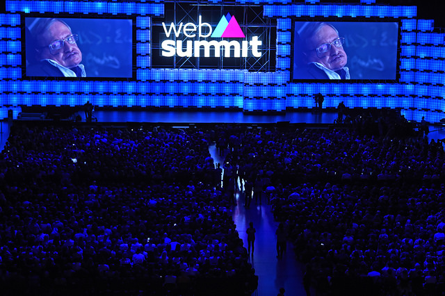 6 November 2017; Stephen Hawking speaking on centre stage via video link during the Web Summit 2017 Opening Cermony at Altice Arena in Lisbon. Photo by Stephen McCarthy/Web Summit via Sportsfile