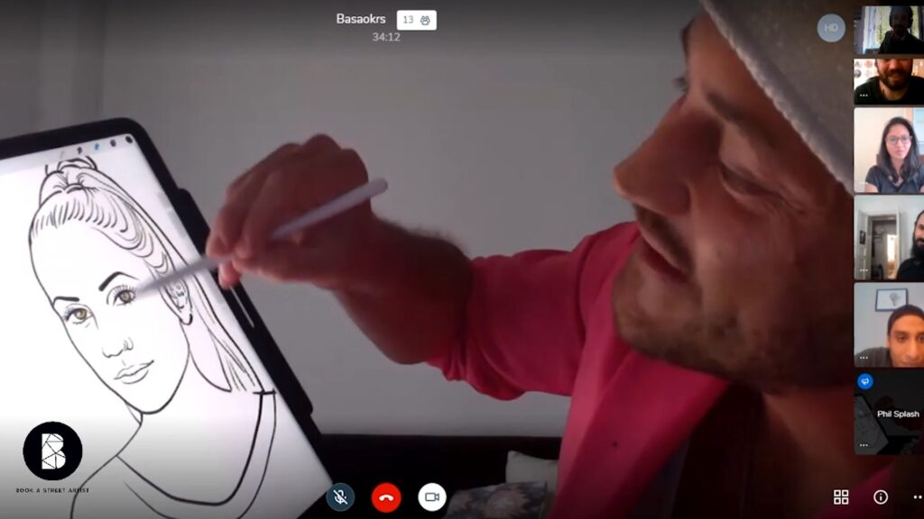 BASA Virtual Artistic Experiences - speed painter over a video call