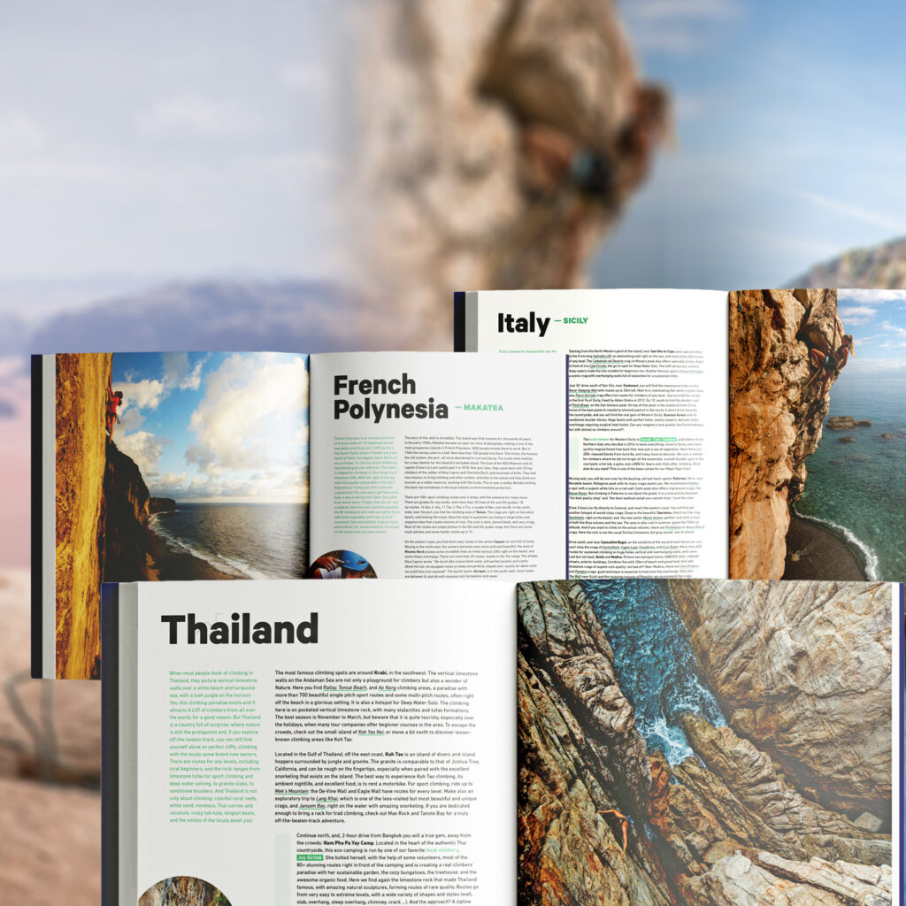 The Climbing Travel Guide mock-up of some destinations