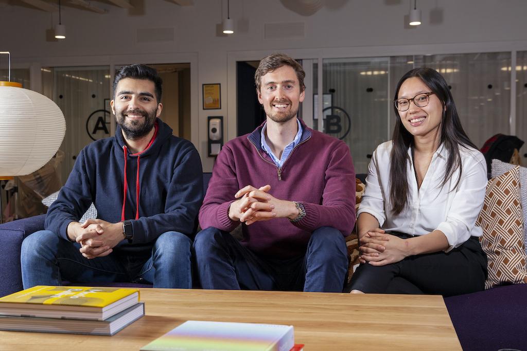 Koia co-founders Ben Riazy, Richard Draper, Iris ten Teije (left to right)
